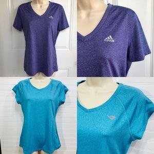 1 Purple Adidas + 1 Blue Pony VNeck Tee Bundle EUC